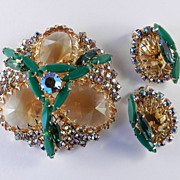 Schreiner Unsigned Rhinestone Art Glass Brooch Pin Earrings Demi Parure Set