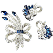 Vintage Pell Rhinestone Brooch Pin Earrings Demi Parure Set