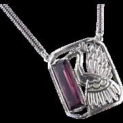 Anne Klein Accessocraft Peacock Art Glass Pendant Necklace