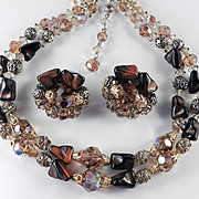 Rhinestone Crystal Art Glass Bead Necklace Earrings Demi Parure Set