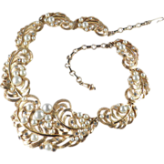 Elsa Schiaparelli Rhinestone Faux Pearl Bib Necklace