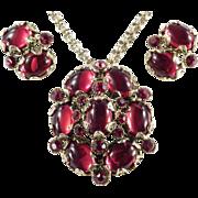 Hollycraft Cabochon Rhinestone Pendant Necklace / Brooch Pin Earrings Demi Parure Set