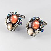 Selini Cabochon Rhinestone Faux Pearl Earrings