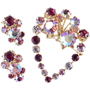 Vintage Austria Rhinestone Brooch Pin Earrings Demi Parure Set