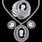 Whiting Davis Intaglio Cameo Clamper Bracelet Pendant Necklace Earrings Parure Set