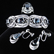 Sorrento Uncas Sterling Hematite Bracelet Earrings Ring Parure Set