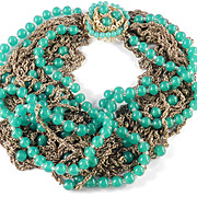 Sandor Peking Glass Bead Necklace Faux Green Jade Multi Strand