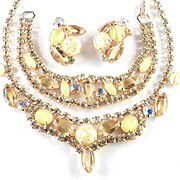 Rhinestone Art Glass Confetti Lucite Necklace Bracelet Earrings Set Parure