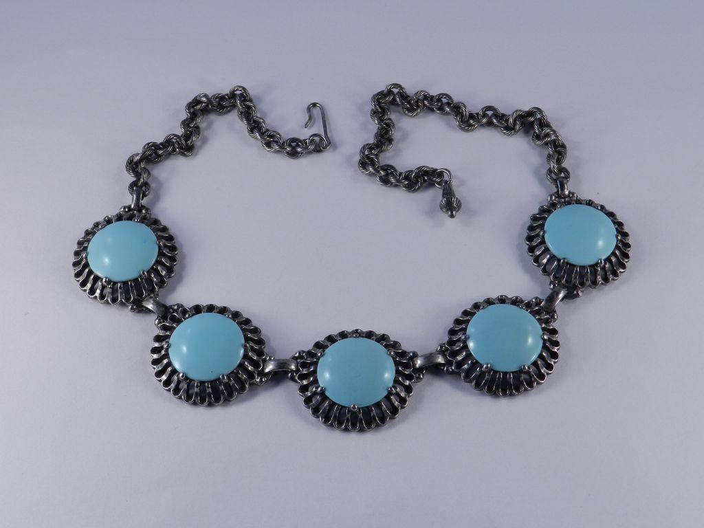 Elsa Schiaparelli Disk Necklace Glass Faux Persian Turquoise