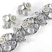 Selro Rhinestone Glass Cabochon Bracelet Earrings Demi Parure Set