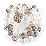 Vendome Coro Rivoli Glass Bead Necklace w/ Faux Pearls