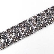 Art Moderne Sterling Silver Link Bracelet Uris Sales Corp NYC Original Box Tags