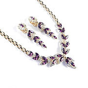 Rhinestone Faux Amethyst Necklace Dangle Earrings Demi Parure Set