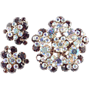 D & E Juliana Rhinestone Rosette Brooch Pin Earrings Demi Parure Set