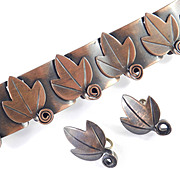 Rebajes Copper Leaf Scroll Bracelet Earrings Demi Parure Set