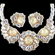Elsa Schiaparelli Rhinestone Faux Opal Art Glass Cabochon Collar Bib Necklace Earrings Demi ..