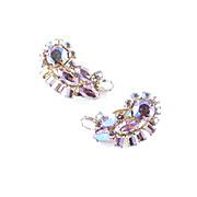 Sherman Rhinestone Crescent Earrings