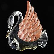 '40s Vintage Lucite Carved Wood Swan Brooch Pin