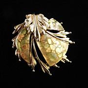 Renoir Sauteur Golden Glow Enamel Brooch Pin Pristine