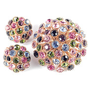 Rhinestone High Domed Chrysanthemum Brooch Pin Earrings Demi Parure Set