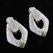 Swarovski Rhinestone Door Knocker Earrings Swan Mark