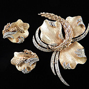 Trifari Rhinestone Leaf Brooch Pin Earrings Demi Parure Set