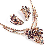 Topaz Colored Rhinestone Necklace Earrings Demi Parure Set