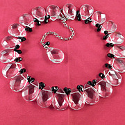 Vintage Crystal Glass Tear Drop Jet Black Briolette Collar Necklace Pristine