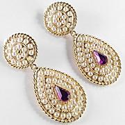 Faux Pearl Rhinestone Pendant Dangle Earrings