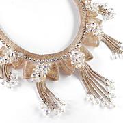 Rhinestone Crystal Mesh Bow Foxtail Fringe Bib Necklace