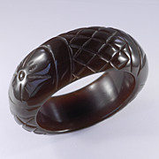 SOLD Vintage Heavy Wide Thick Domed Pineapple Carved Lucite Bangle Bracelet