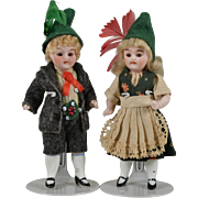 Wonderful Pair of All Bisque Children 3.5 Inches