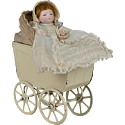 Tiniest All Bisque Bye-Lo with Carriage - 4 Inches
