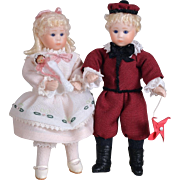 Tiny Doll Artist Bother & Sister Pair - 3.75 Inches