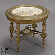 19c. Napoleon III Style Porcelain and Giltwood Two Tier Table