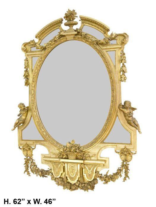 19c. Oval Napoleon III Style Giltwood Mirror with Two Cherubs