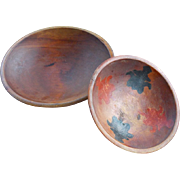 Two Out of Round Primitive Wooden Bowls