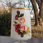 Vintage Footed Lidded White Rose and Gold Trim Candy Dish Vase