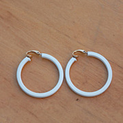 "SALE 1 1/2"" Signed Vintage L.H. Segal California White Square Hoop Earrings"
