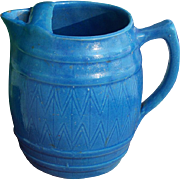 SALE Blue Salt Glaze Barrel Shaped Pitcher