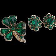 SALE Vintage Emerald Color Shamrock and Flowerette Rhinestone Pins Coro?