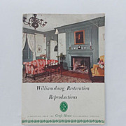 SALE Rare 1952 Edition of Williamsburg Restoration Reproductions Craft House