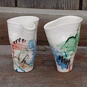 SALE Vintage Signed Hand Thrown Pair of Ceramic Vases