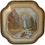 SALE 1940's Picture Frame with Lovely Matching Landscape