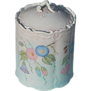 SALE Vintage Morning Glory Painted Vanity Canister