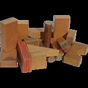 Wooden Kindergarten School Blocks Display or Play 18 Piece Vintage