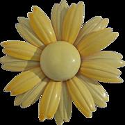 """SALE Yellow Enamel 2 3/4"""" Vintage 60's Daisy Flower Pin Brooch"""