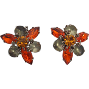 SALE Vintage Signed Beaujewels Fleur-de-lis Accented Amber and Smoke Colored Glass Stones