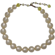 SALE Vintage Moonstone White Lucite Bead Necklace with Yellow Moonstone Bead Accents