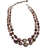 SALE Brown, Taupe, Green Pearlescent, Faux Pearl and Glass Bead Two Strand Mid Century Vintage